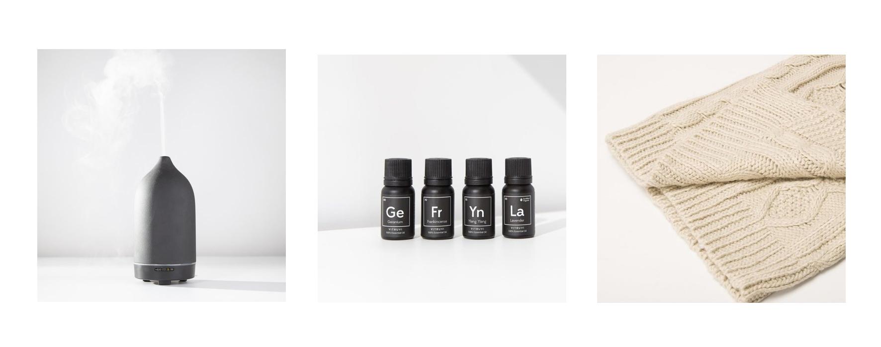 Vitruvi Diffuser, Essential Oils (2bottles), Battio Blanket
