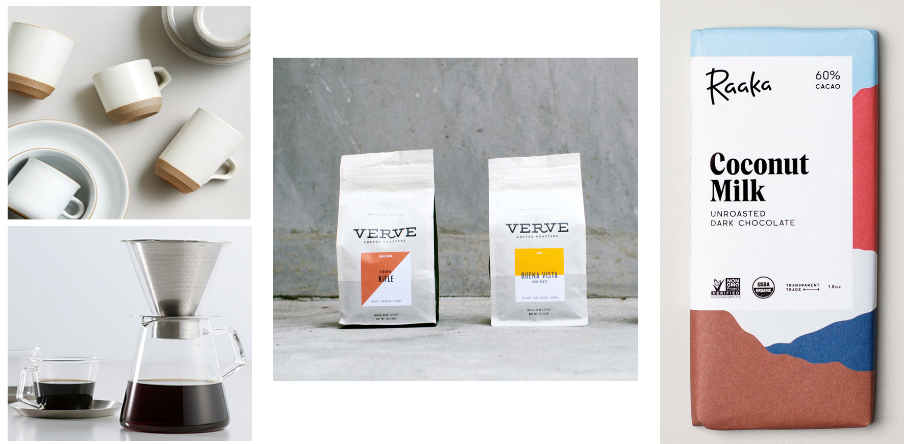 Kinto Ceramic Mug (2), Kinto Coffee Carafe, Verve Coffee Roasters, Raaka Chocolate Bar