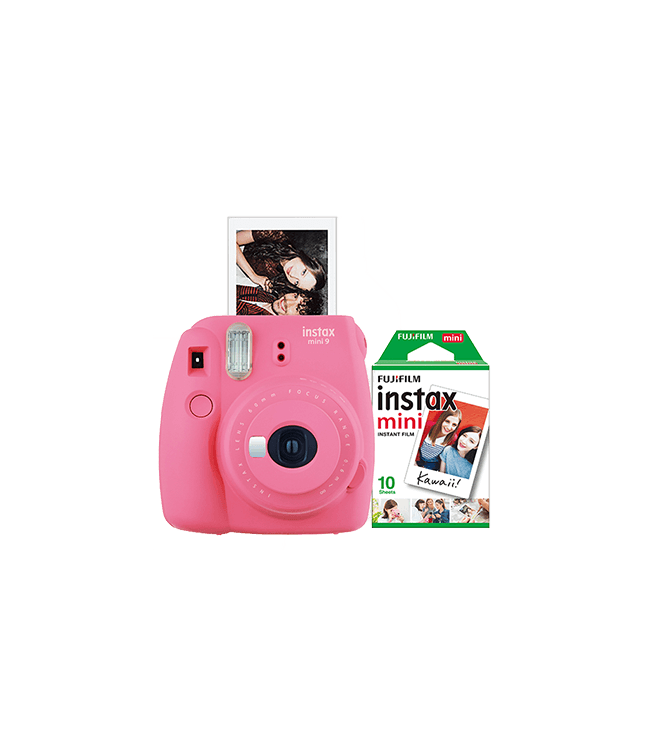 Fujifilm Instax Mini 9 Instant Camera w/ 10 Count Film Flamingo Pink