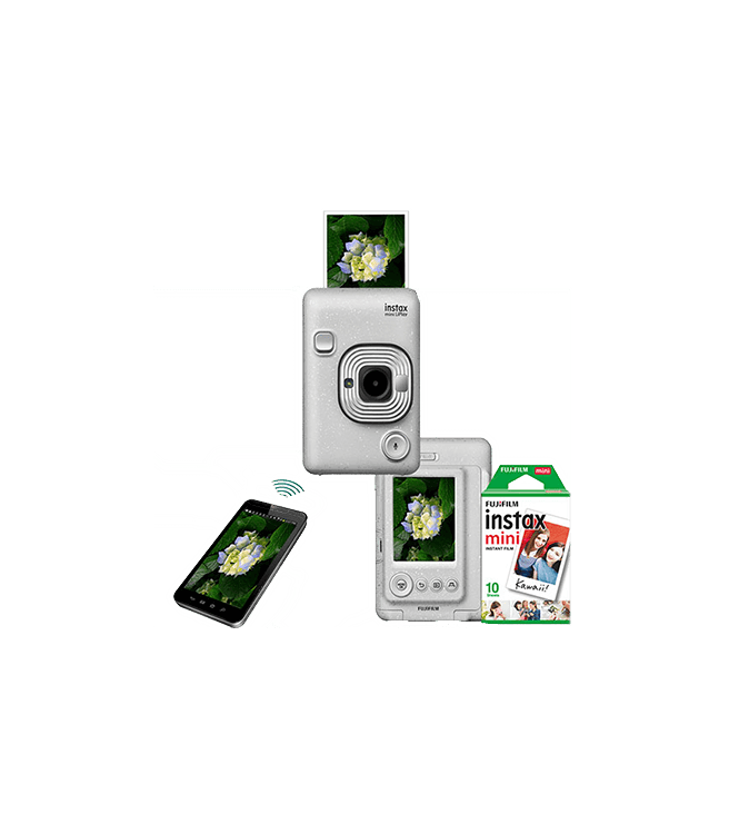 Fujifilm Instax Mini LiPlay Hybrid Camera w/ 10pk Film Stone White