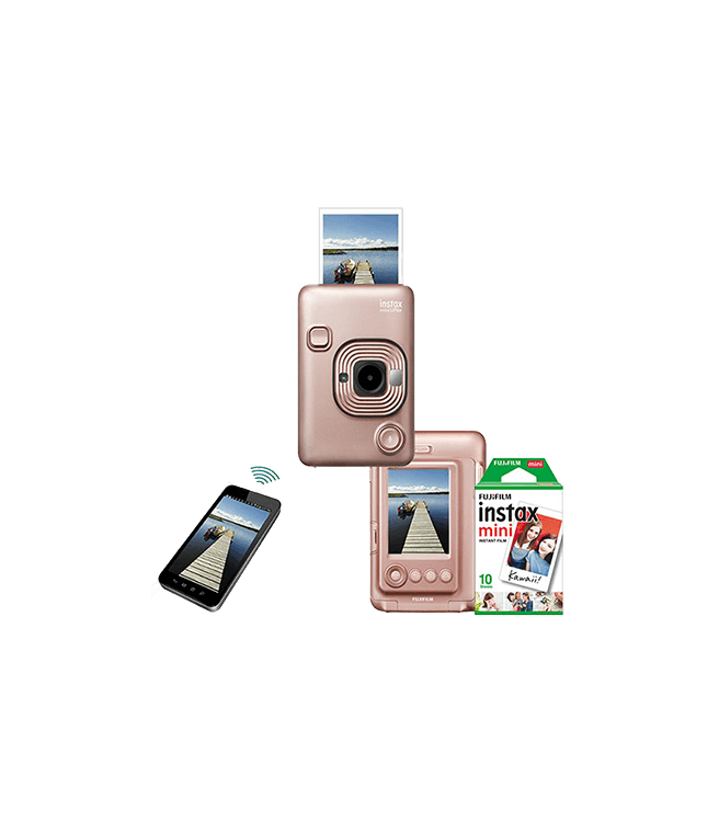 Fujifilm Instax Mini LiPlay Hybrid Camera w/ 10pk Film Blush Gold