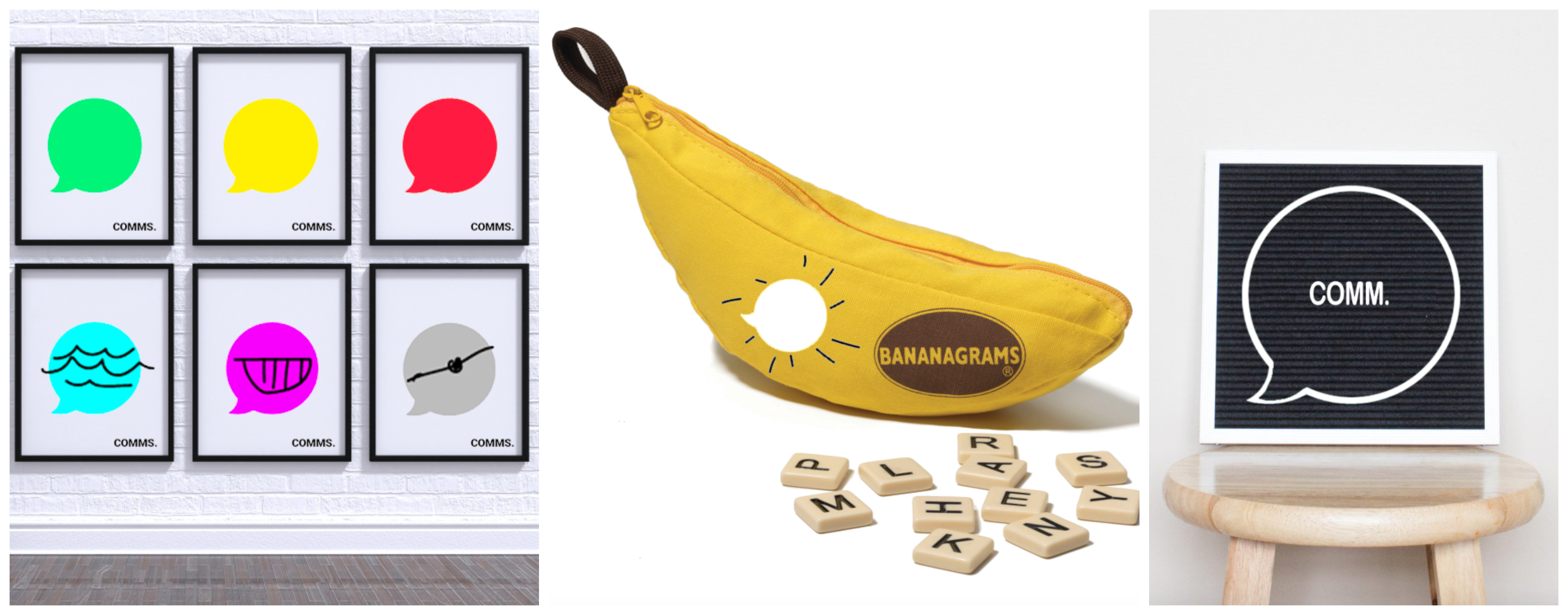 Whiteboard with Dot-Bubble Design, Bananagrams game, Black Felt-board with Letters