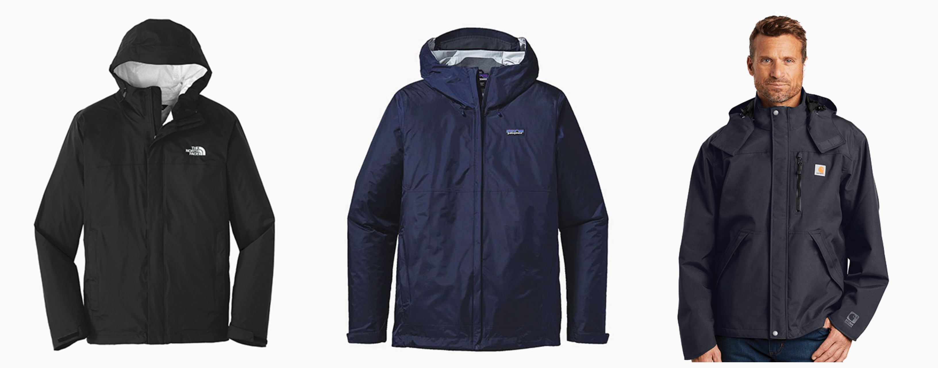The NorthFace DryVent Rain Jacket, Patagonia Torrentshell Jacket, Carhartt Shoreline Jacket‍