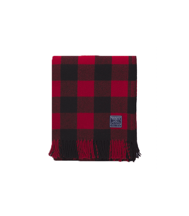 Faribault Woolen Mill Co. Buffalo Check Throw - Red/Black