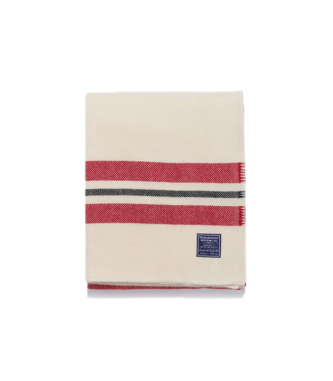 Faribault Woolen Mill Co. Cabin Wool Throw - Bone White Red Black
