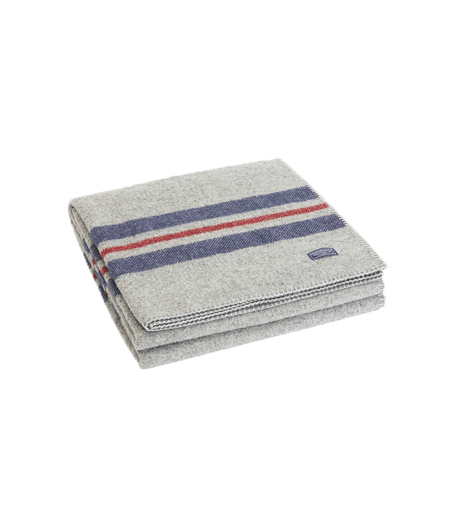 Faribault Woolen Mill Co. Cabin Wool Throw - Heather Gray Navy Red