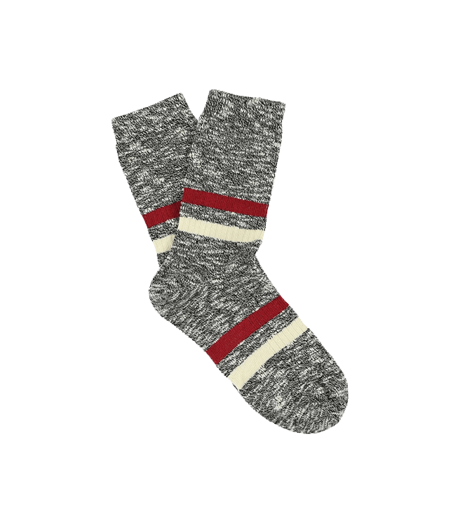 Escuyer Women's Melange Stripes Socks - Black / Brick / Ecru