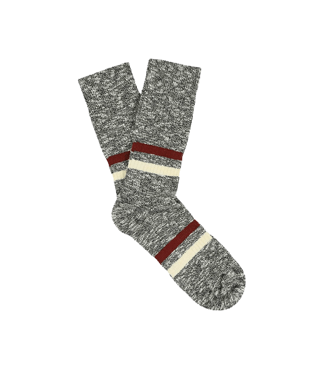 Escuyer Men's Melange Stripes Socks - Black / Brick / Ecru