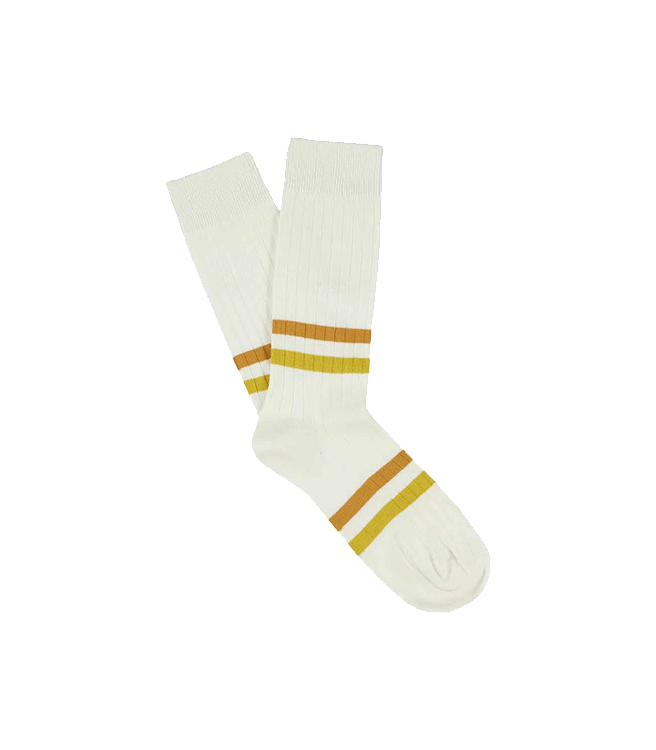 Escuyer Men's Stripes Socks - Off White / Mustard