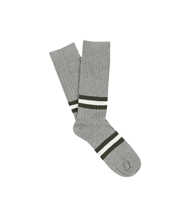 Escuyer Men's Stripes Socks - Grey Melange / Khaki