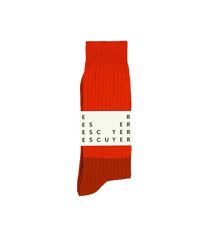 Escuyer Colour Block Socks - Molten Lava / Gold Flame