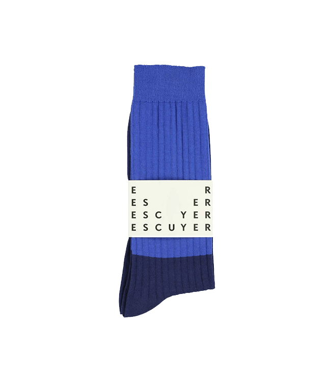 Escuyer Colour Block Socks - Classic Blue / Estate Blue