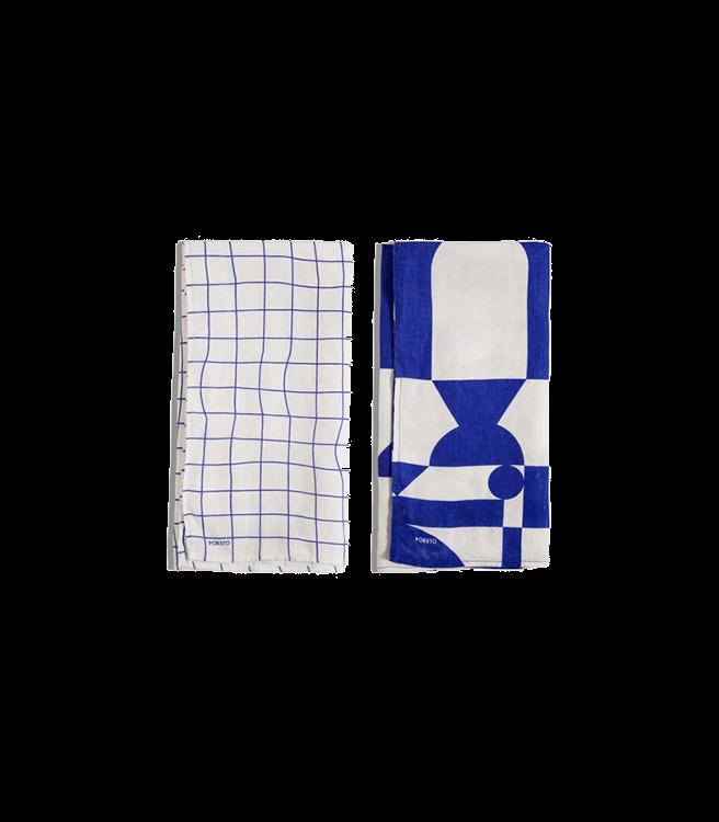Poketo Linen Tea Towel Set in Blue