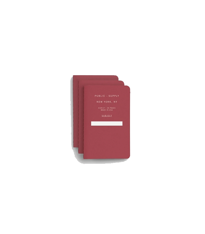 """Public Supply 3.5x5.5"""" Pocket Notebook Soft Cover 3pack- Red 02"""