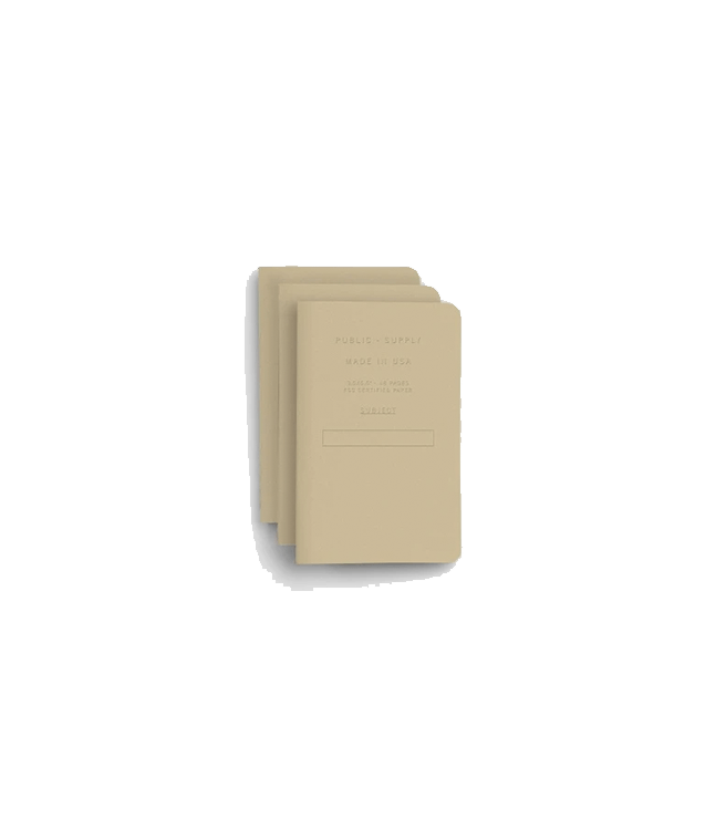 "Public Supply 3.5x5.5"" Pocket Notebook Embossed 3pack - Manila"