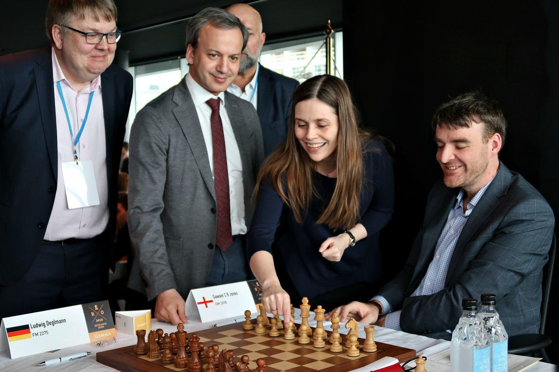 Gunnar Bjornsson Arkady Dvorkovich Katrin Jakobsdottir Gawain Jones Reykjavik Open 2019