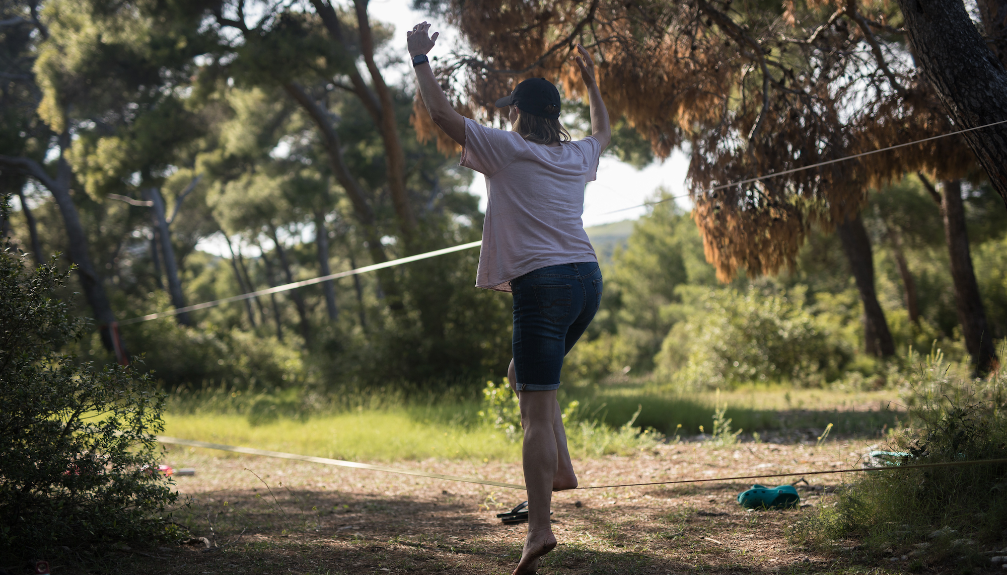 First step on the Slackline