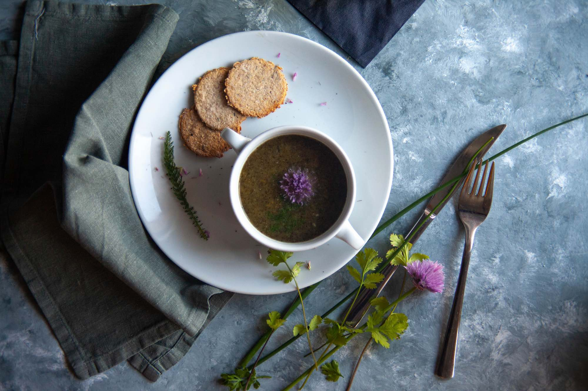 Wild Nettle Soup with Garlic Herb Scones