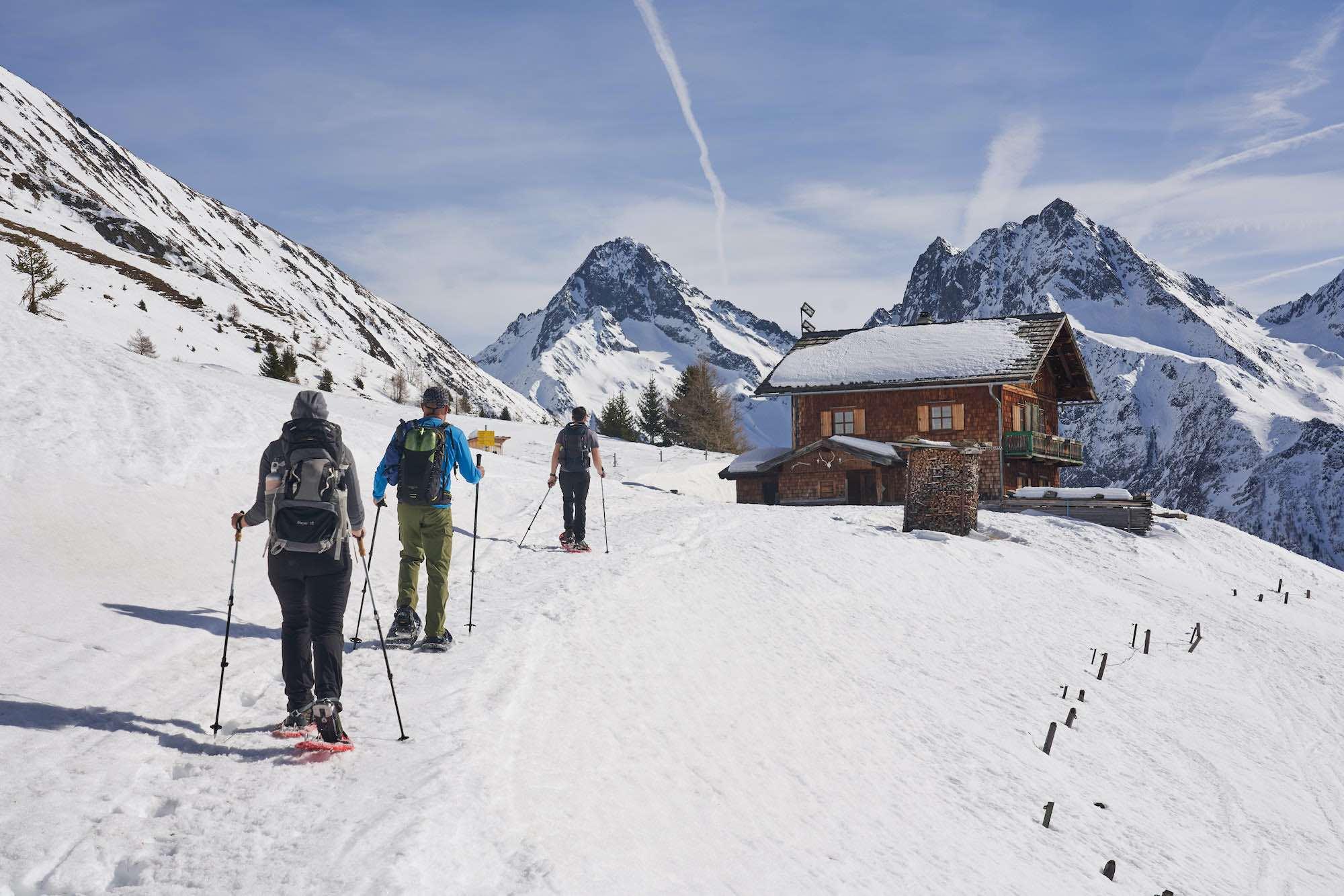 snowshoe hike, Austrian Alps with MoaAlm Mountain Retreat