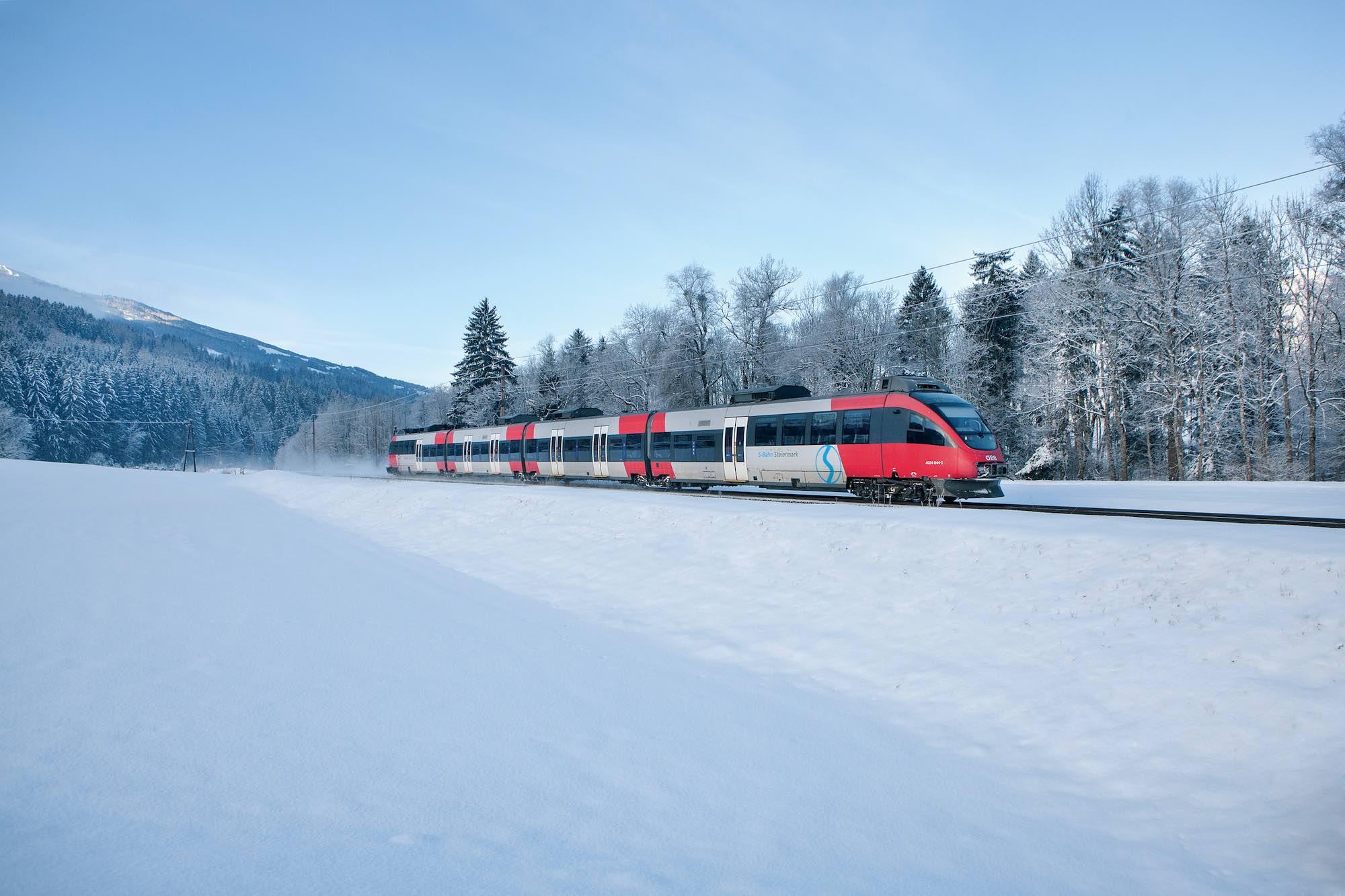 Ski train travel from UK to Austria