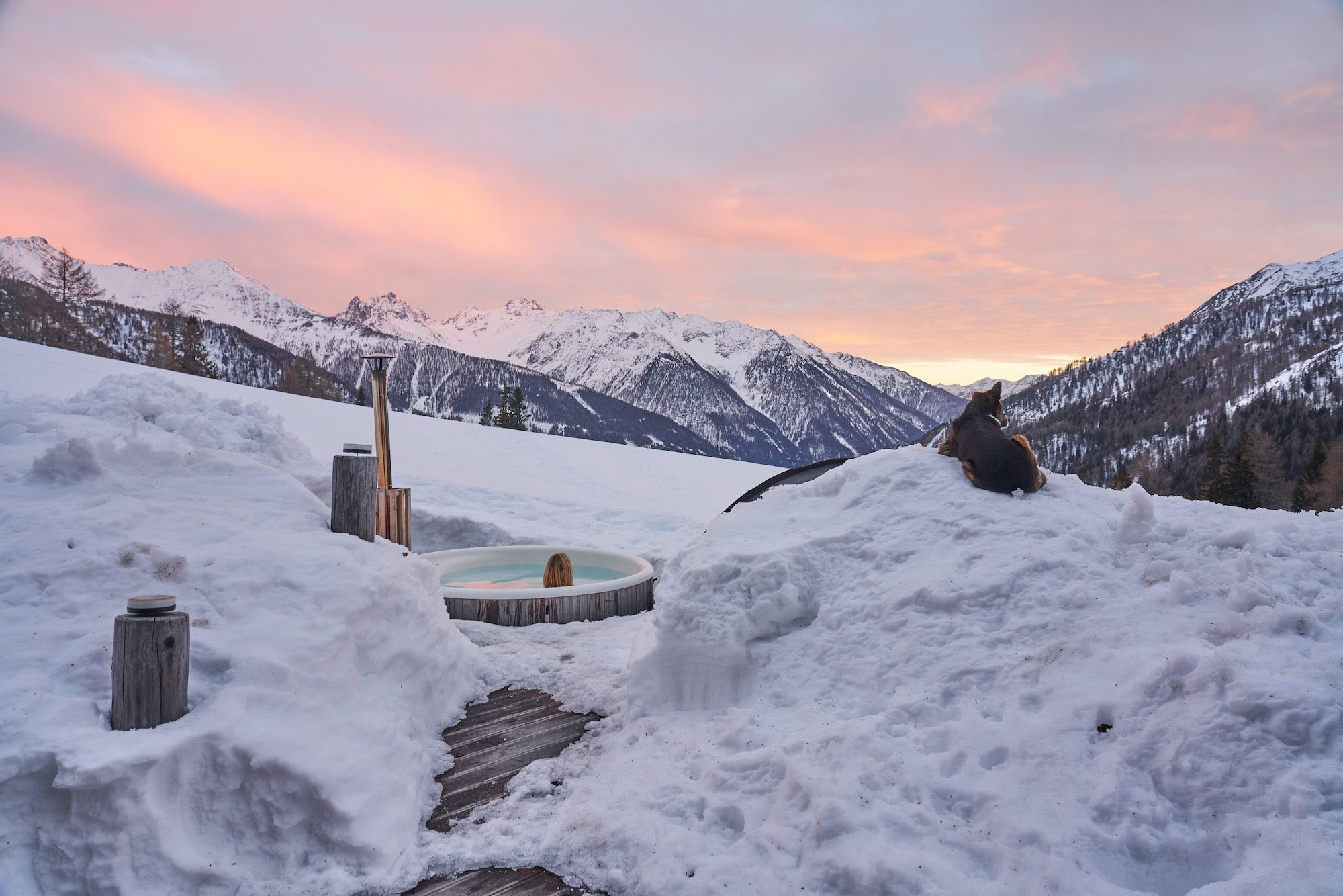 Relaxing in the wood burning Hot Tub, Austrian Alps MoaAlm