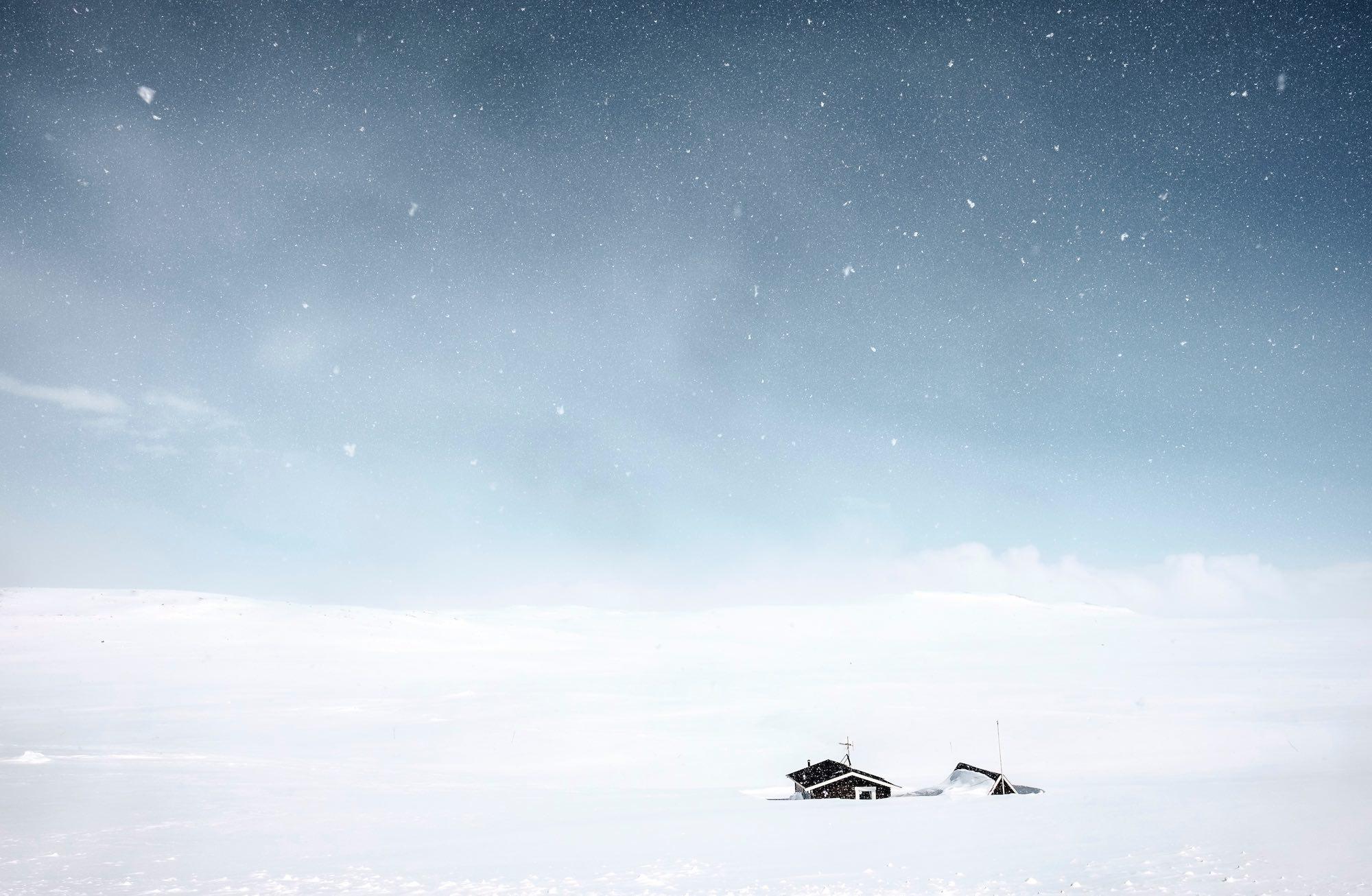 Winter Mountain Huts in Norway, Scandinavia