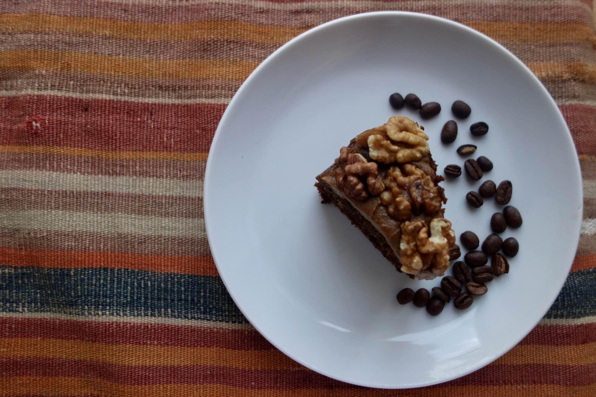Vegan Coffee and Walnut Cake