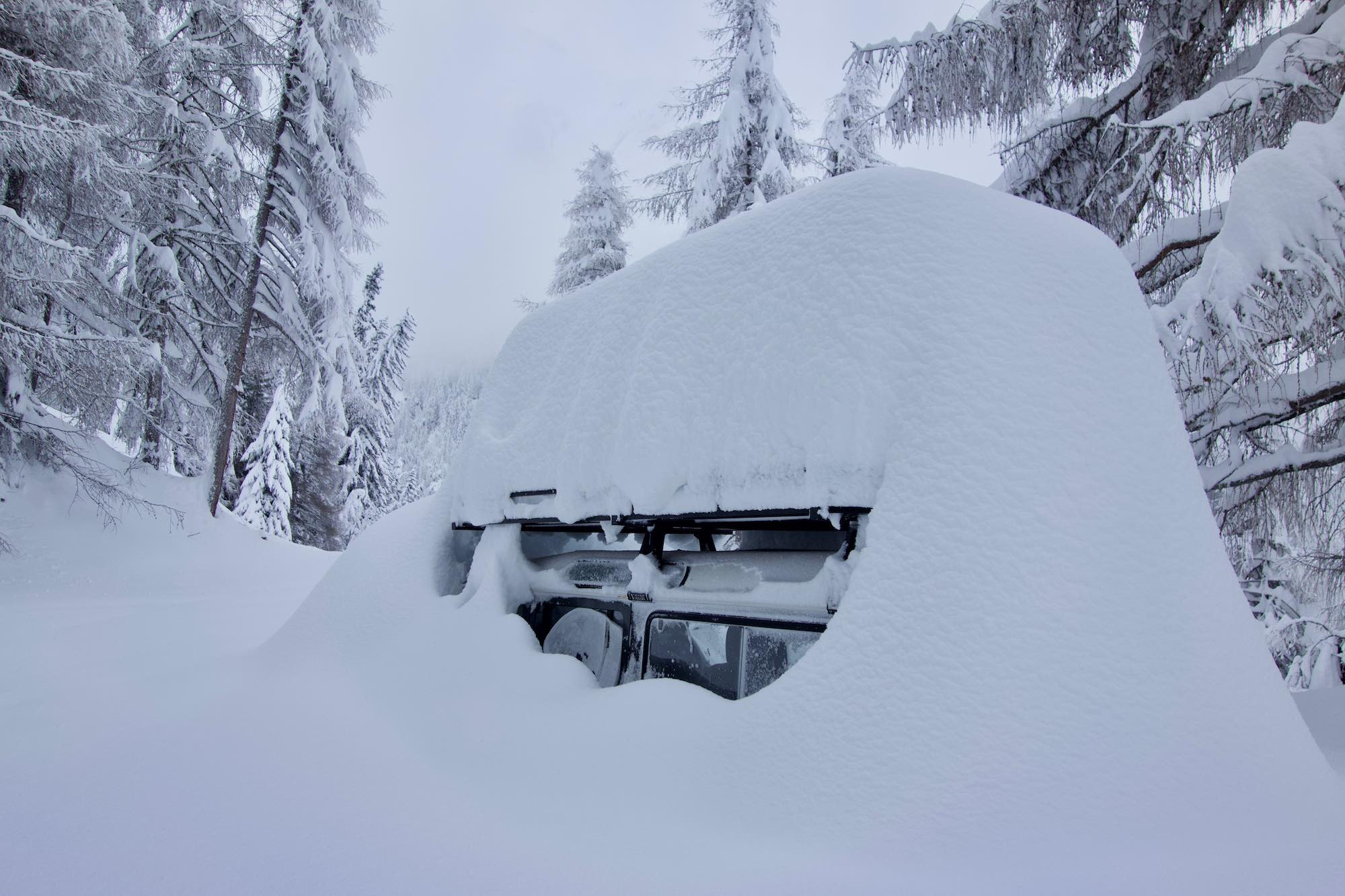 Heavy snowfall in Osttirol Austria