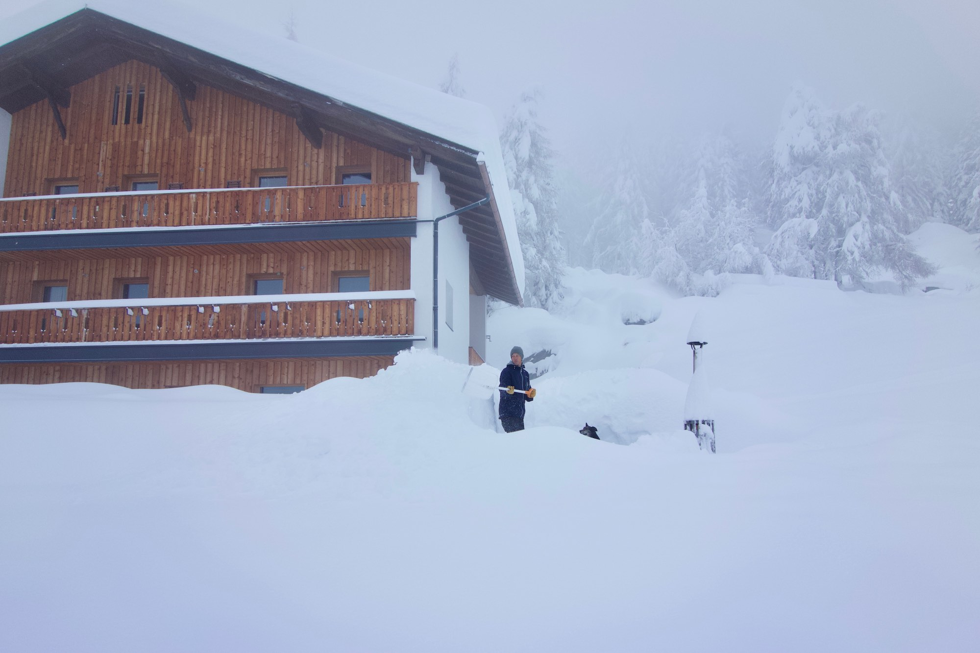 Snow clearing at MoaAlm Mountain Retreat, Austria