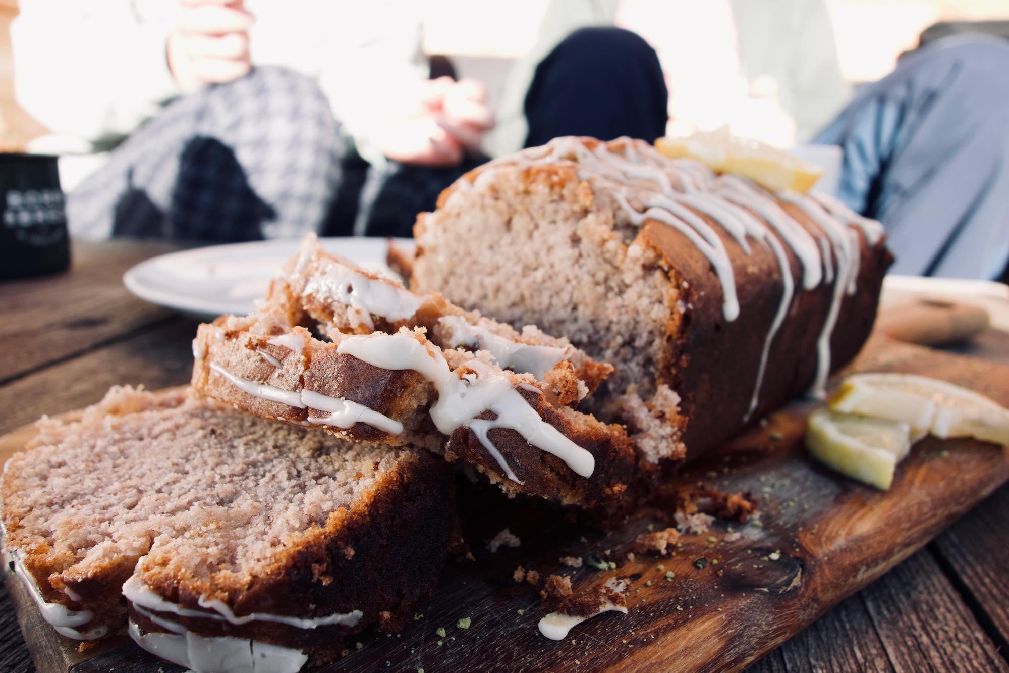 vegan lemon drizzle cake at MoaAlm Mountain Retreat