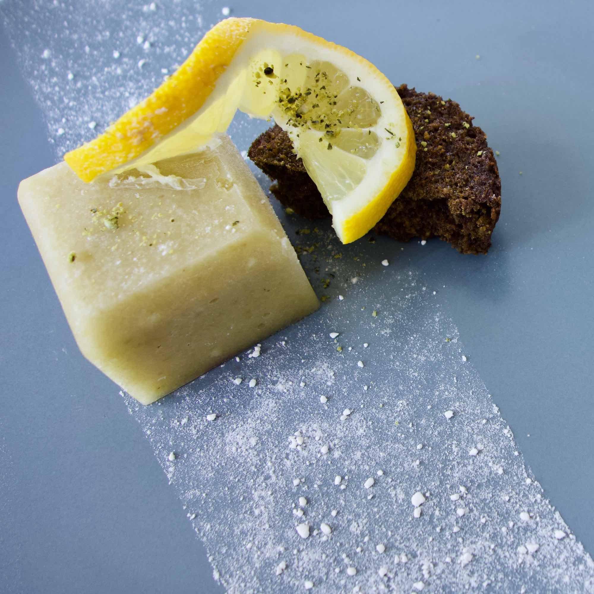 Grape and Lemon Sorbet with Matcha Muffin