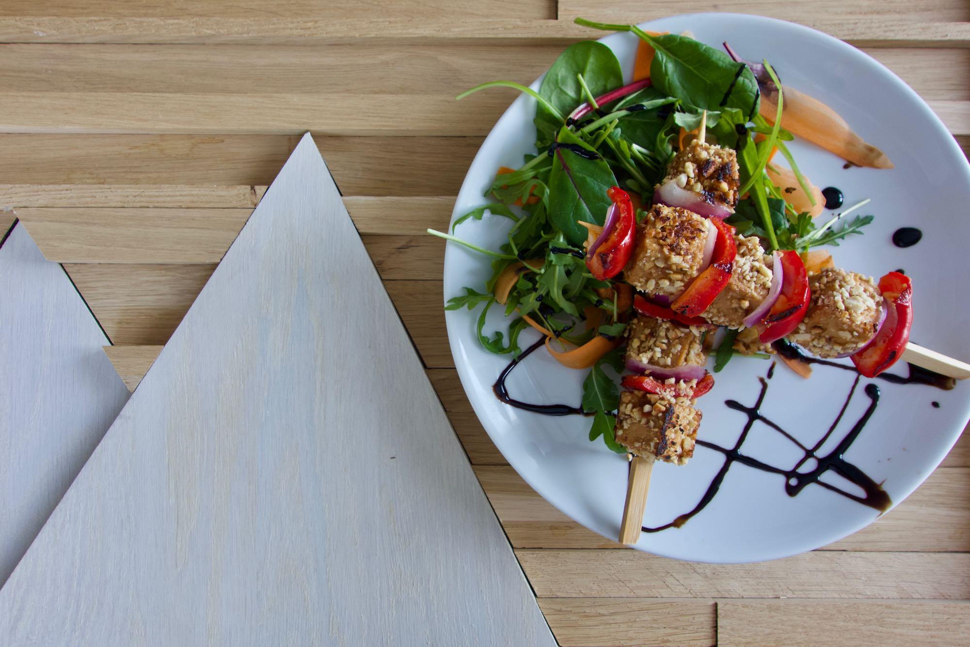 Tofu Skewers with Mango Sauce