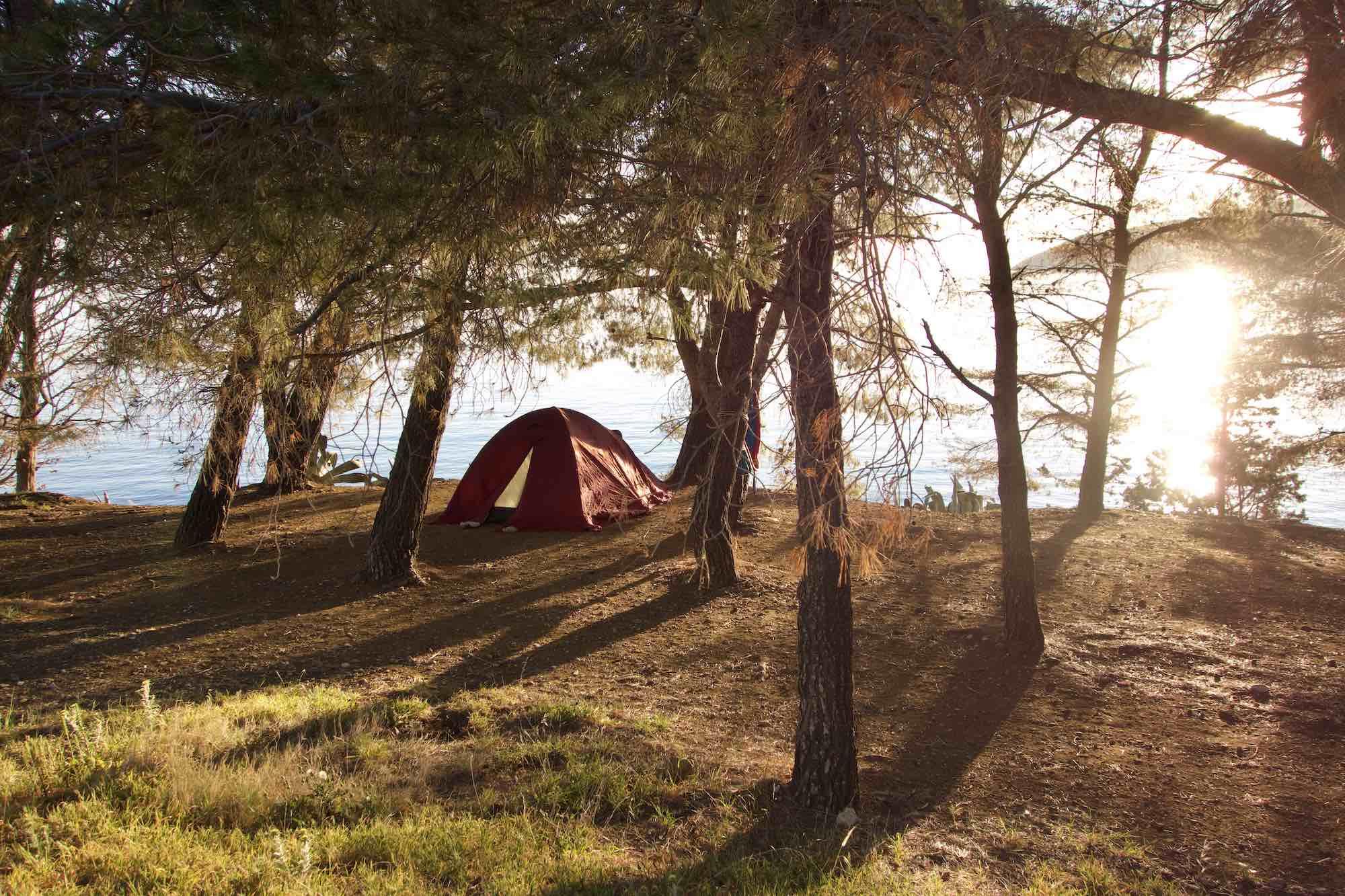 Camping on Vis Island, Komiza