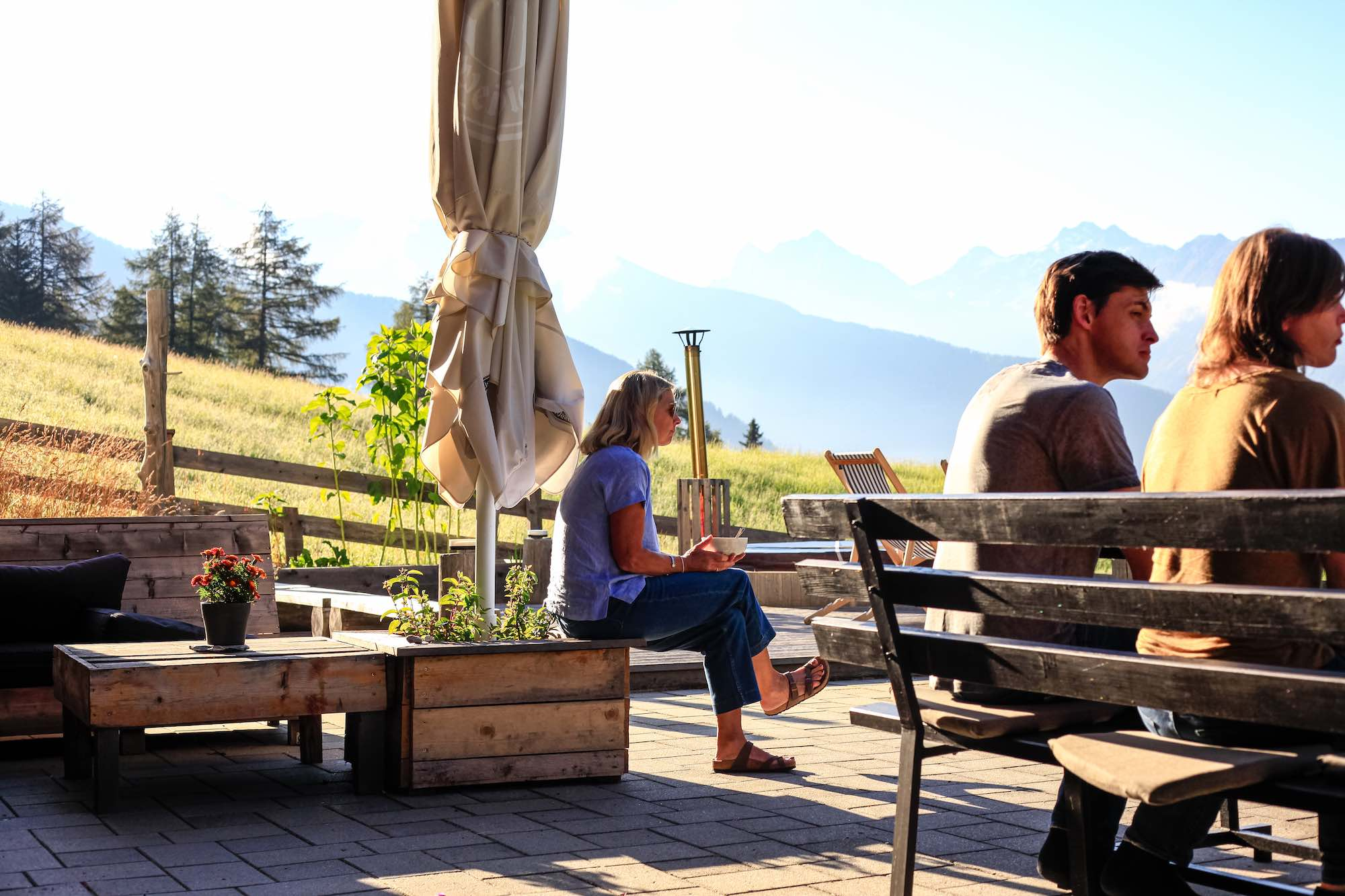 Summer views from the south facing terrace at MoaAlm, Austria