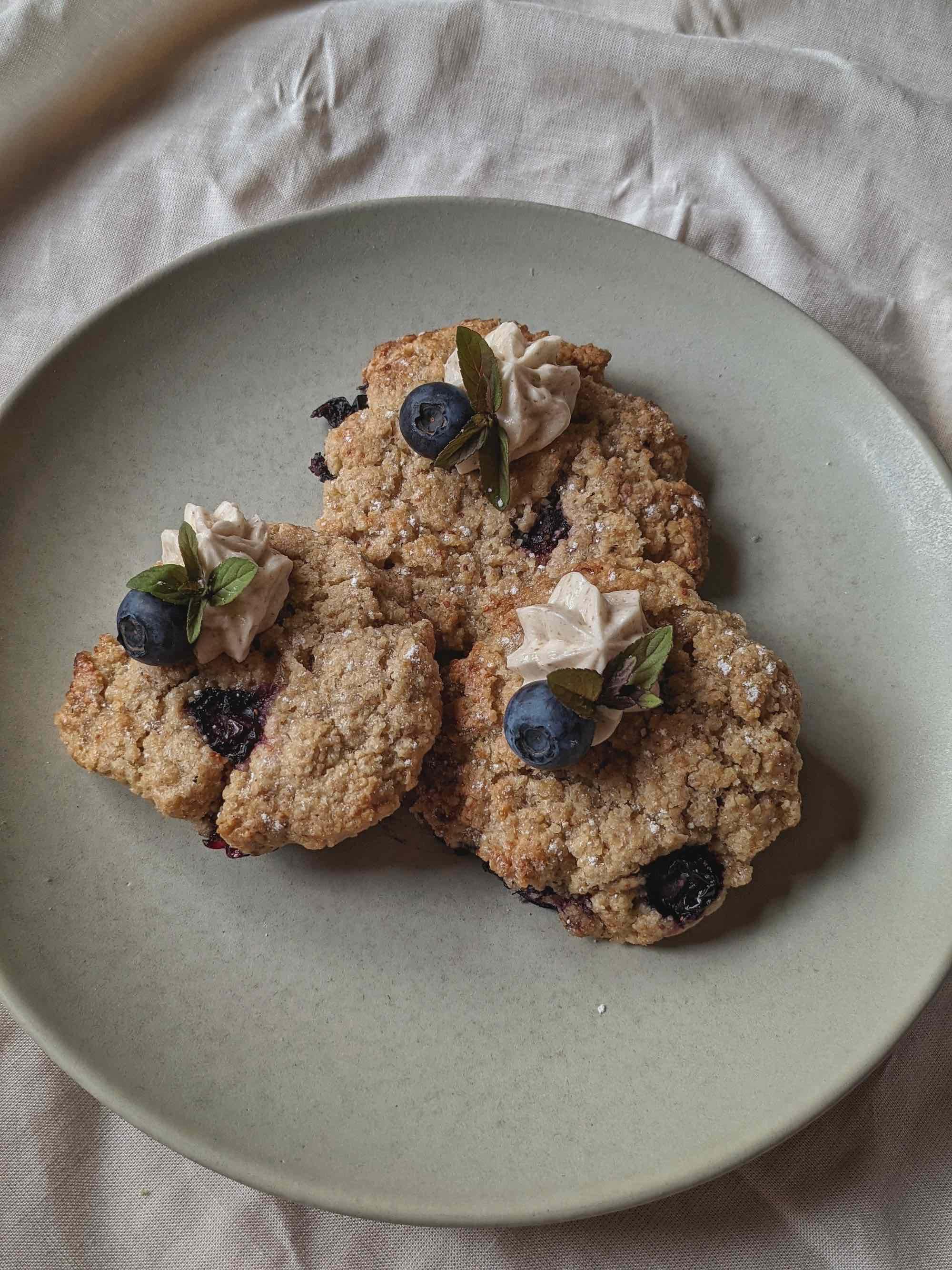 Blueberry Cookies with Elderflower Cream