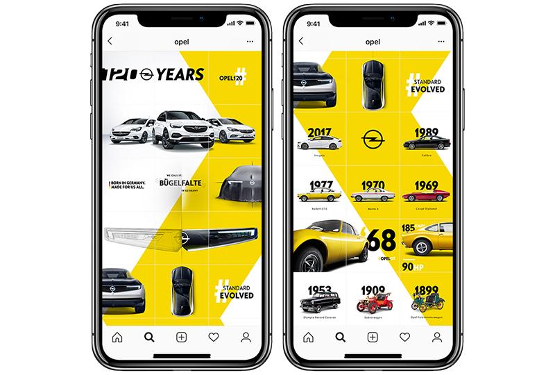 VELOCITY McCANN zeigt mit Instagram-Grid Opel-Meilensteine