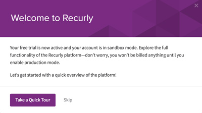 recurly welcome modal