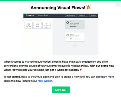 klayvio feature announcement flow