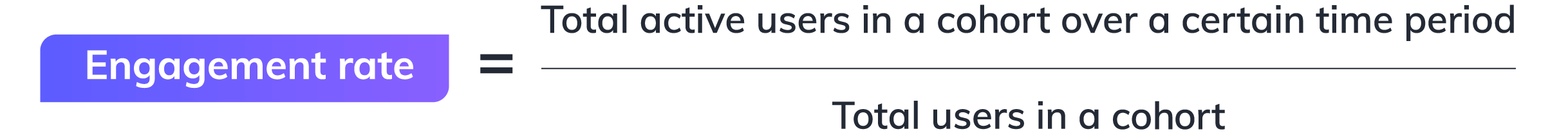 User engagement metric equation. How to calculate user engagement: Engagement rate represents the percentage of users who remain active within your product