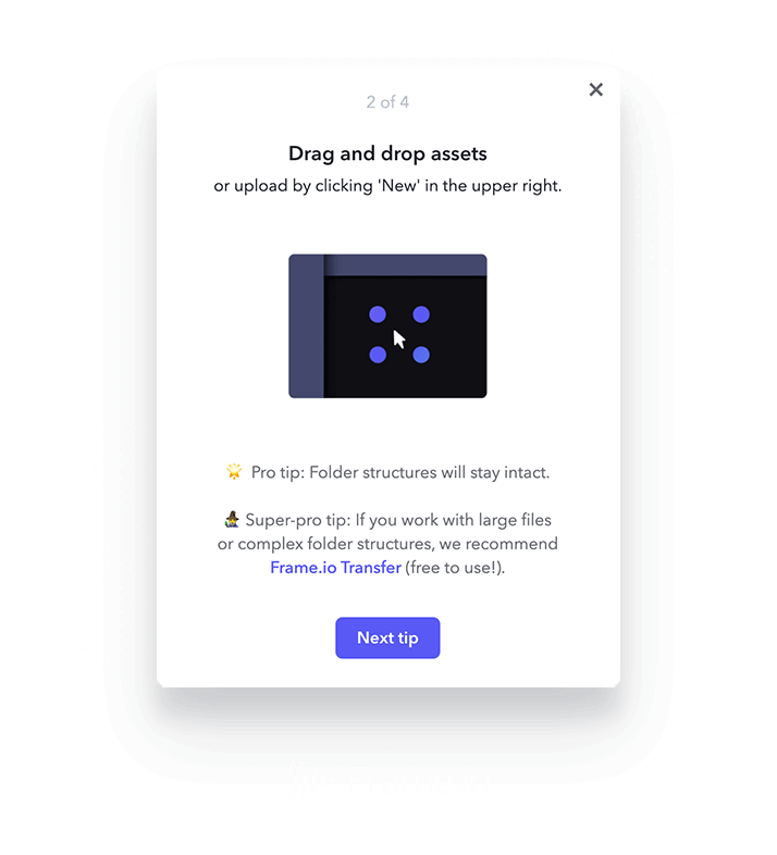 Frame.io flow created within Appcues