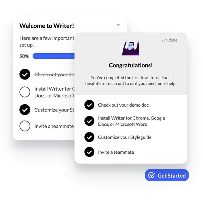 Writer checklist created within Appcues