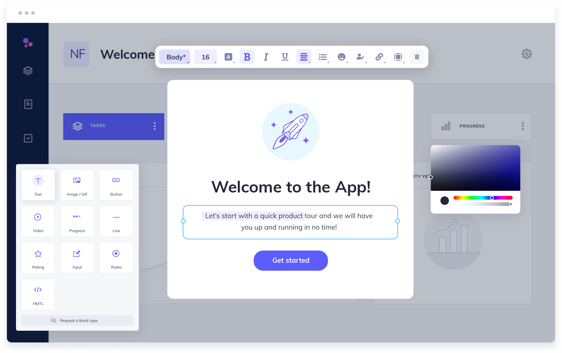 Image of a user onboarding modal being created within Appcues no-code builder