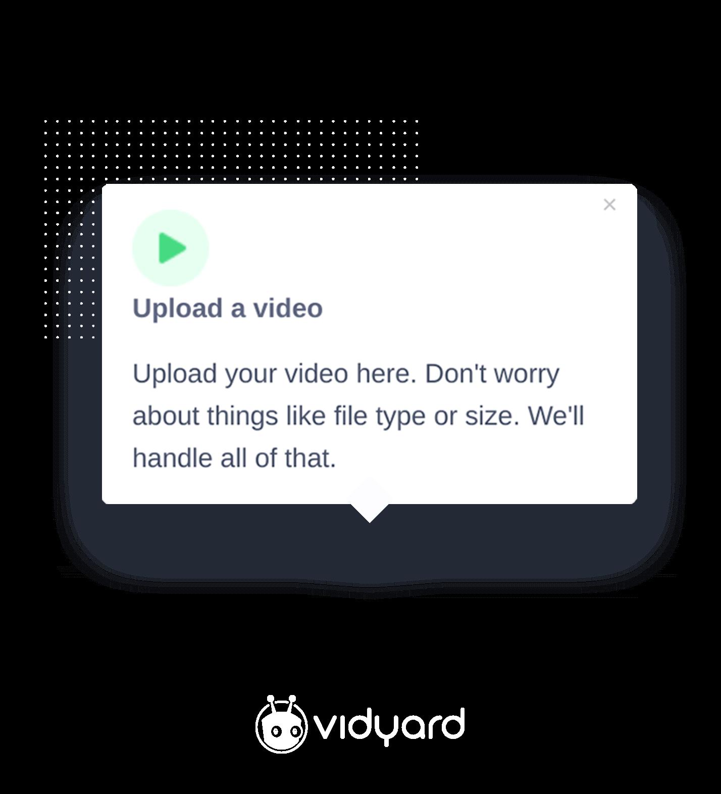 Vidyard tooltip created using Appcues