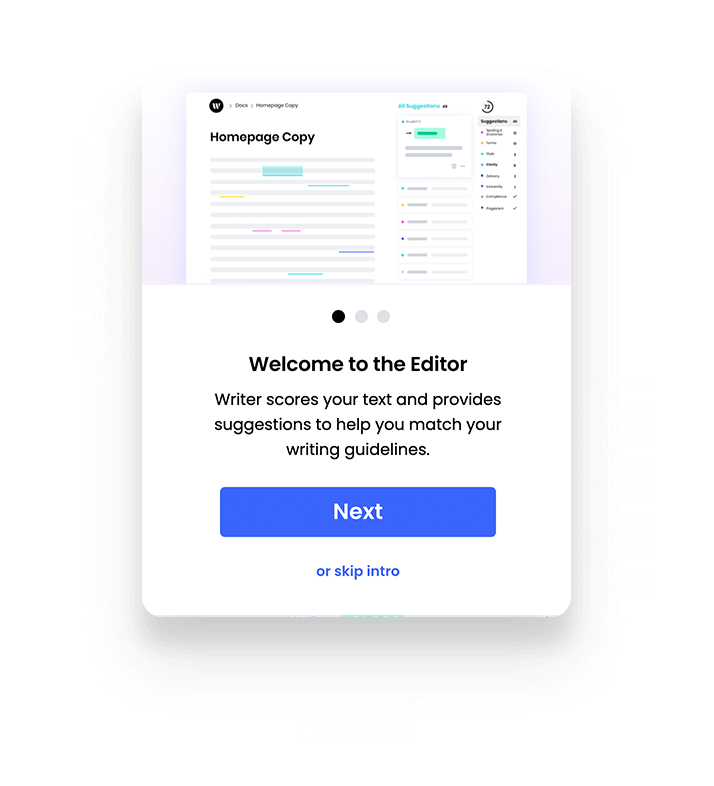 Writer slideout created using Appcues