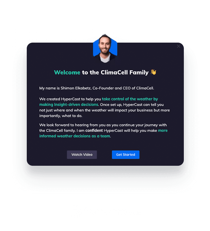 Tomorrow.io modal created within Appcues