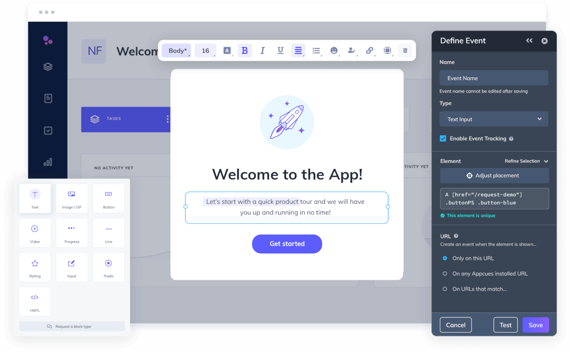 Picture showing the Appcues builder and how easy it is to drag and drop content