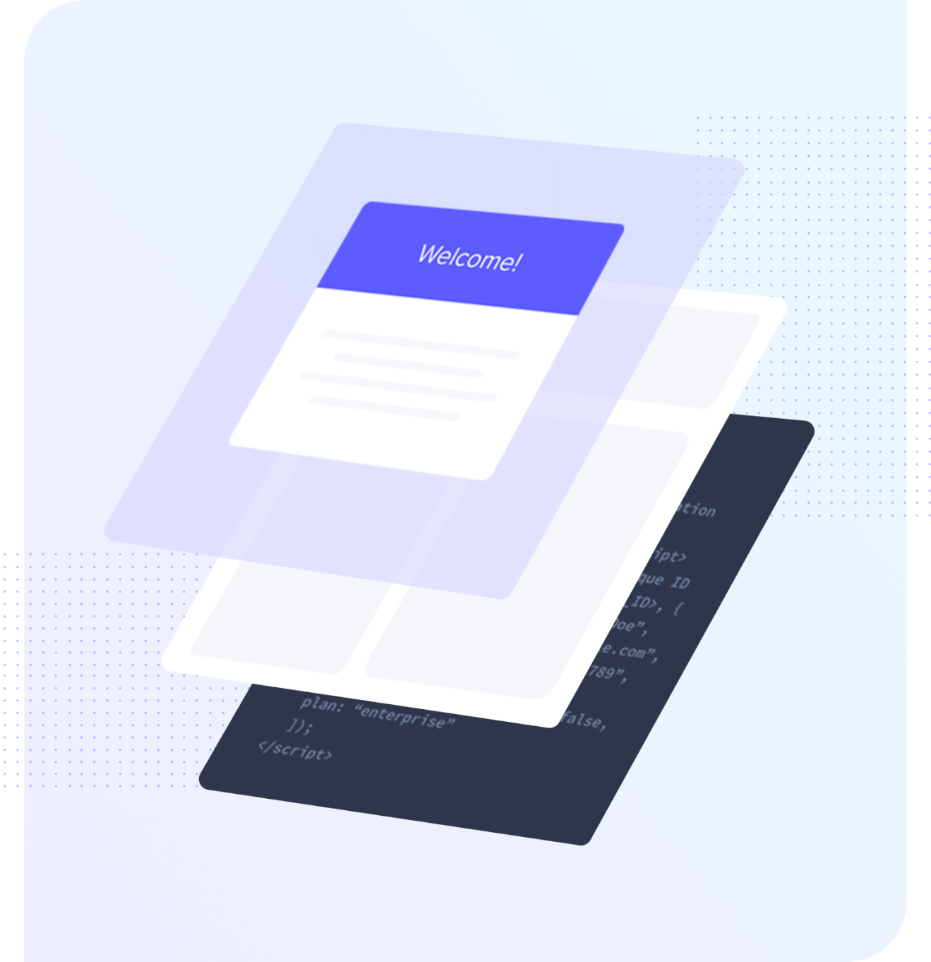Illustration that shows that Appcues is a layer that sits on top of your product