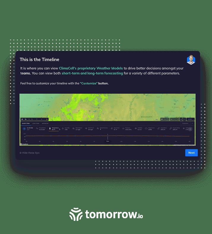 Tomorrow.io modal created using Appcues