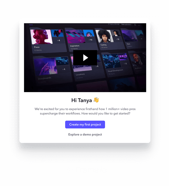 Frame.io modal created within Appcues