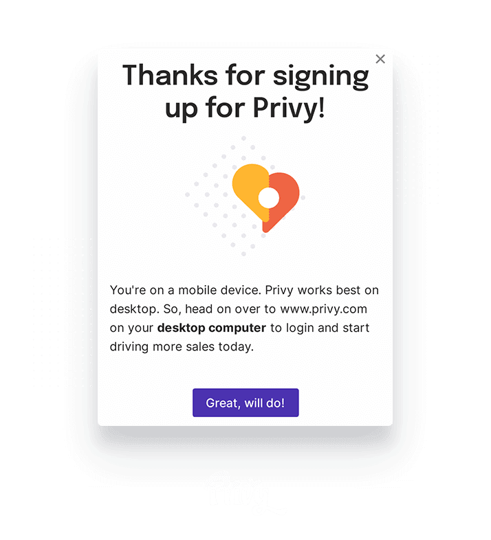 Privy modal created using Appcues